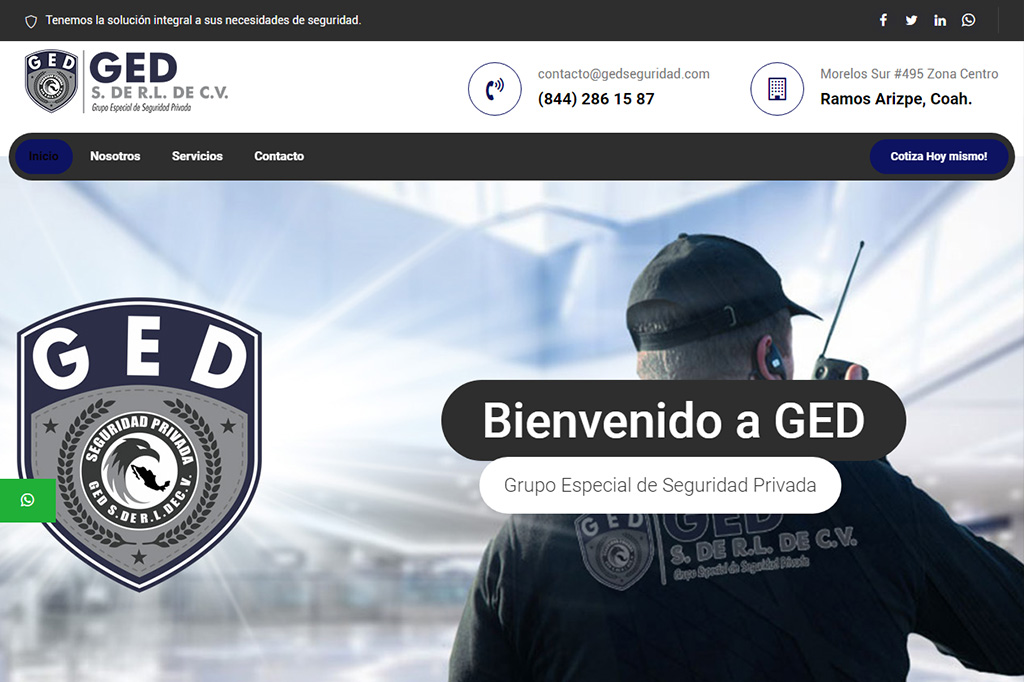 Página web GED Seguridad