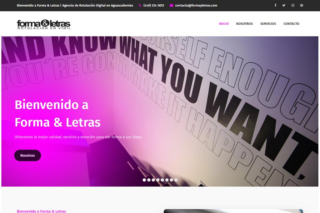 Página web Forma y Letras