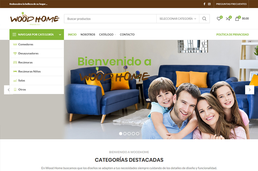 Página web Wood Home